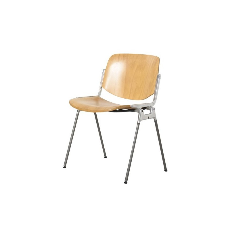 Giancarlo Piretti Design.Castelli Wooden And Metal Chair Giancarlo Piretti 1960s