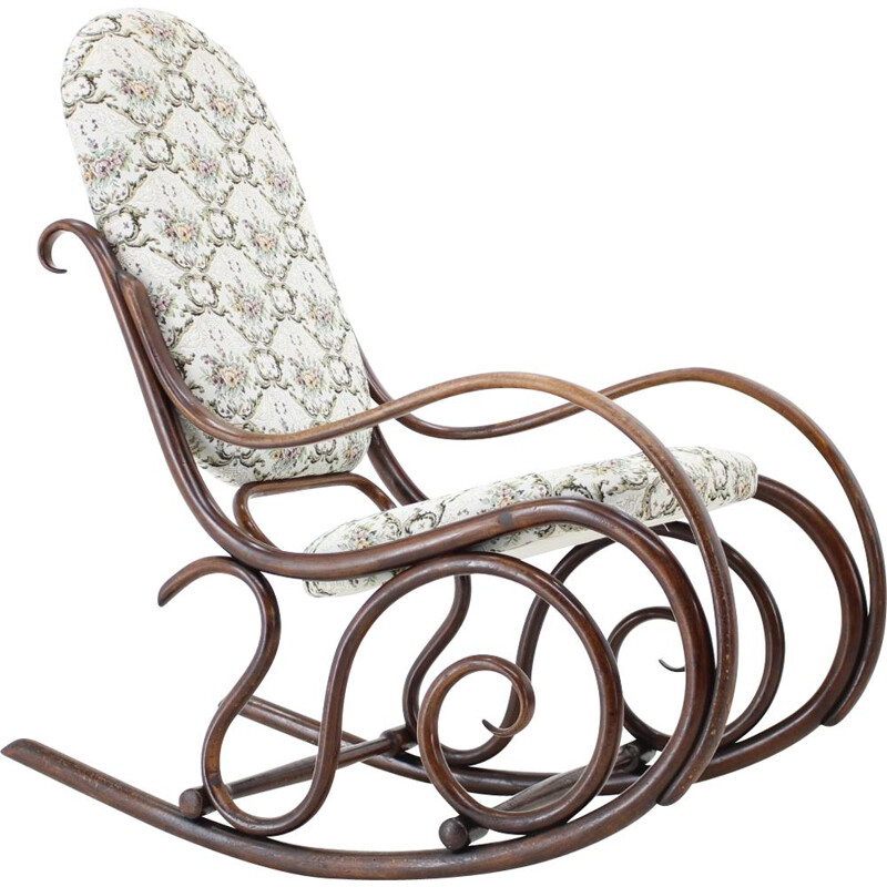 Vintage wood and fabric rocking chair by Gebruder Thonet, 1881s