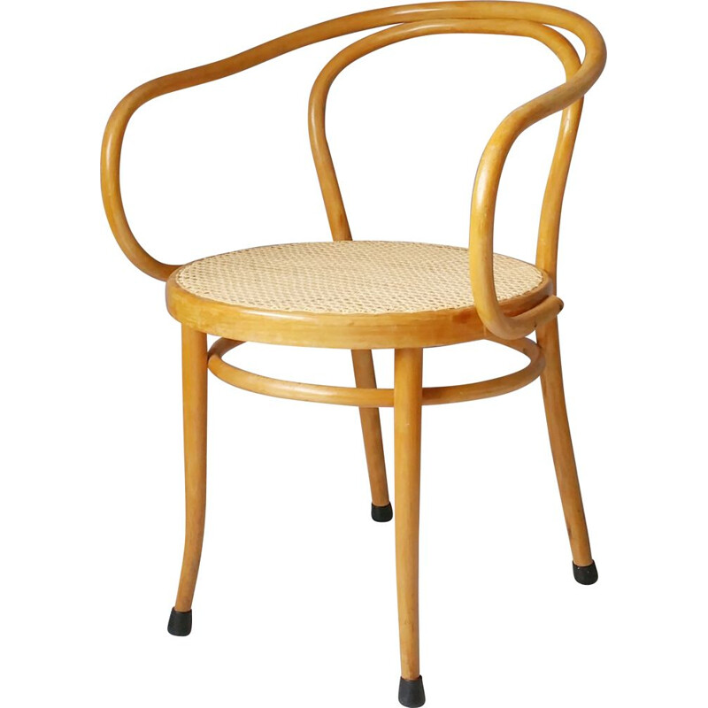 Vintage No. 210 wooden and rattan chair by Gebrüder Thonet from Ligna, 1960s