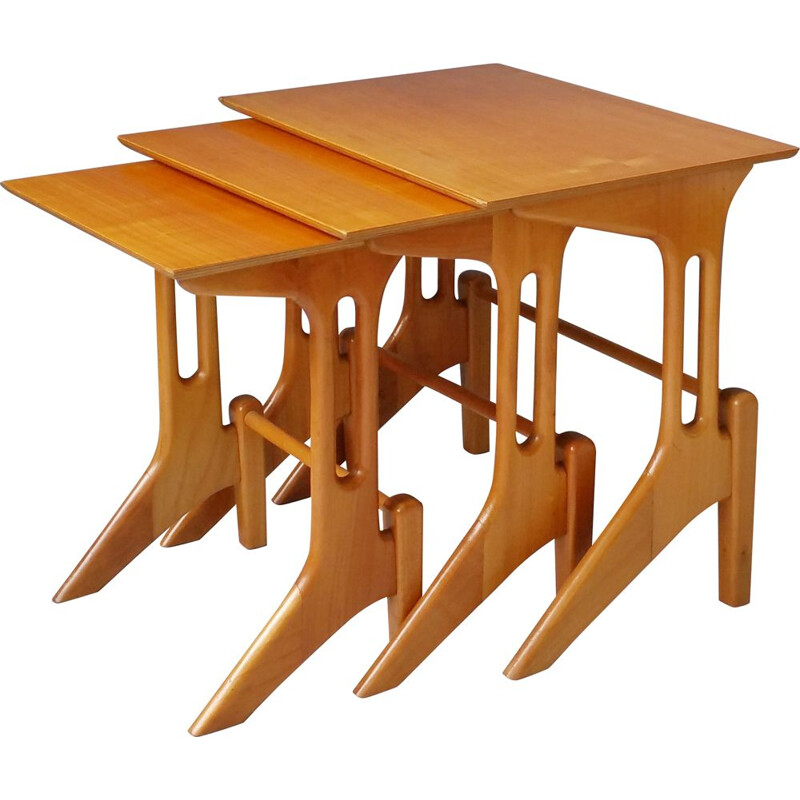 Vintage wooden nesting tables, 1950s
