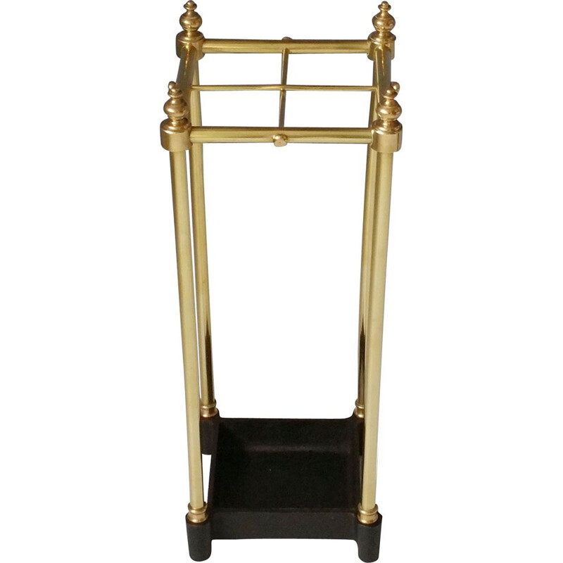 Vintage brass and cast iron umbrella stand, 1960-70s