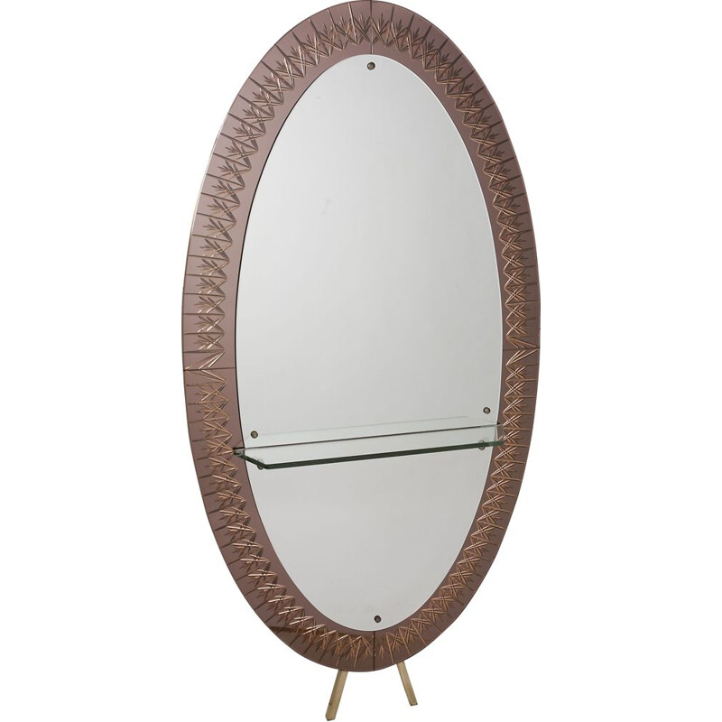 Vintage large mirror with glass shelf, 1950s