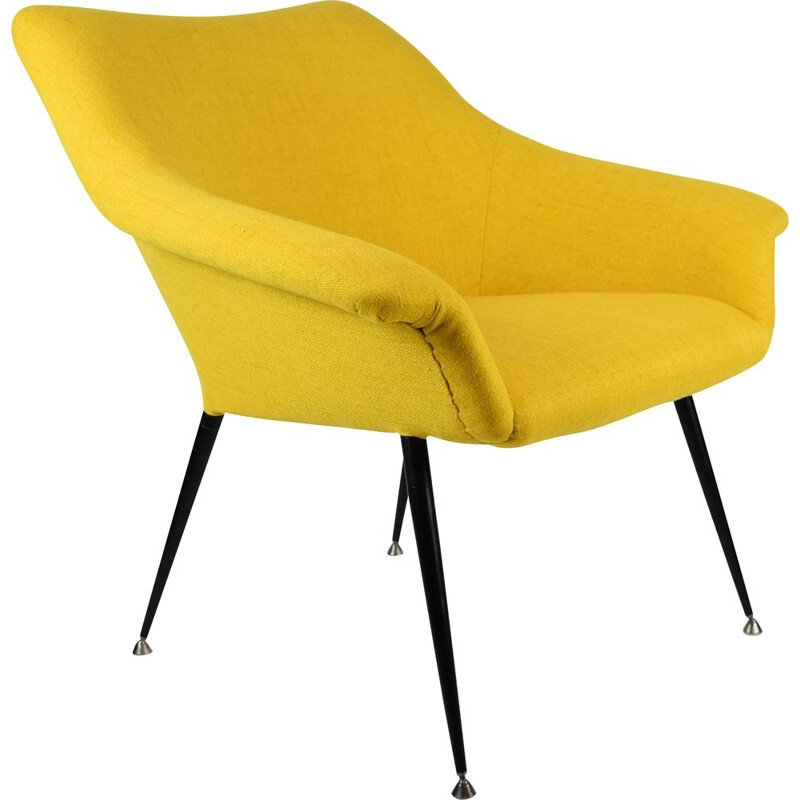Yellow vintage square shell armchair, 1970