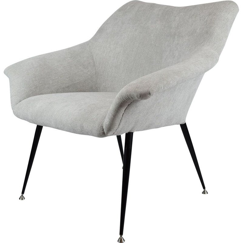 Light grey vintage square shell armchair, 1970s