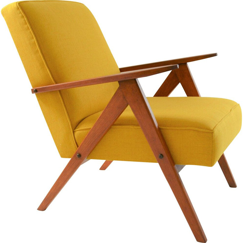 Vintage armchair model Kompas, yellow, 1970s