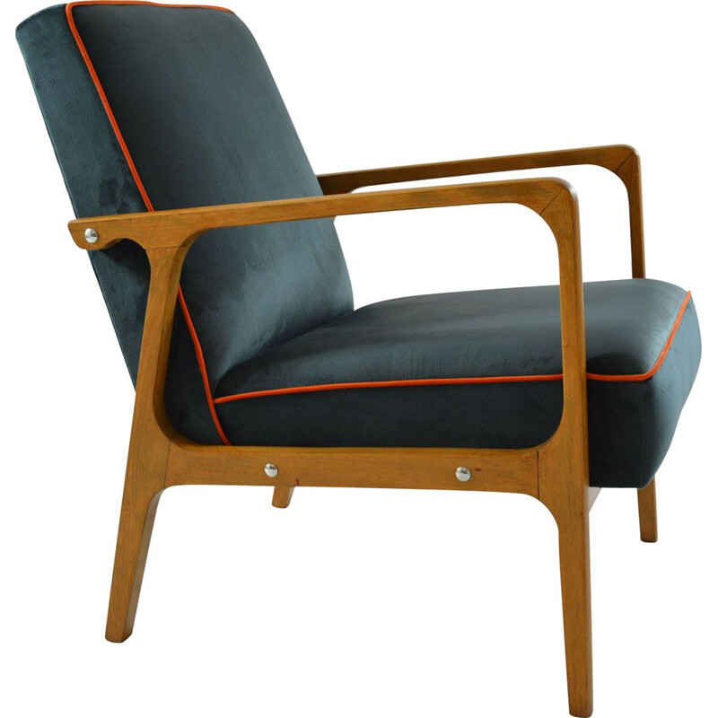 Vintage chair model KADR blue, 1960
