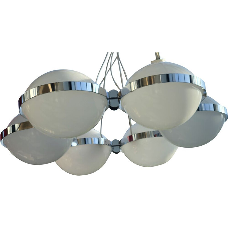 Vintage suspension saucer with 6 chrome and plexi metal globes, 1970