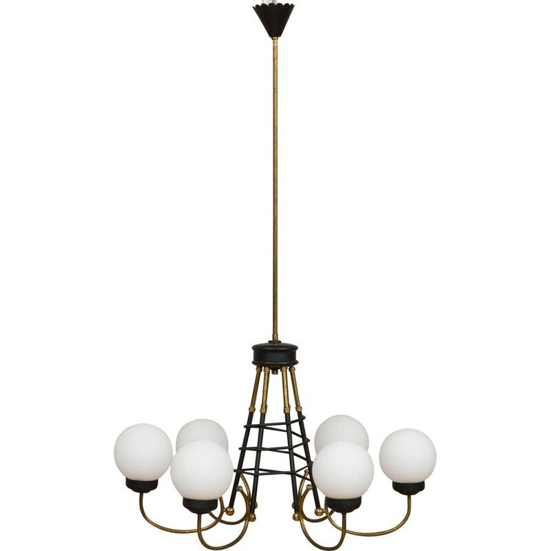 Vintage six lights chandelier by Stilnovo, 1960