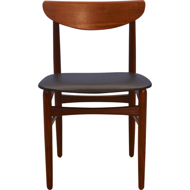 Vintage Danish dining chair in teak in black leatherette, 1960s