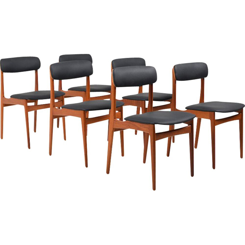 Set of 6 vintage Danish teak dining chairs, 1950
