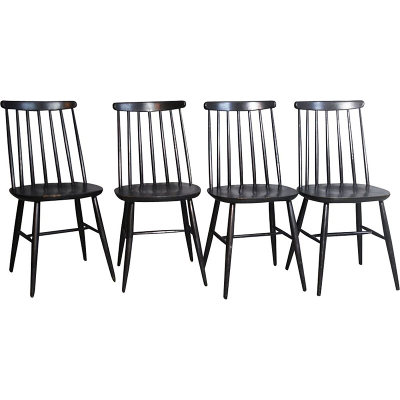 Vintage set of 4 dining chairs by Ilmar Tapiovaara, 1950s