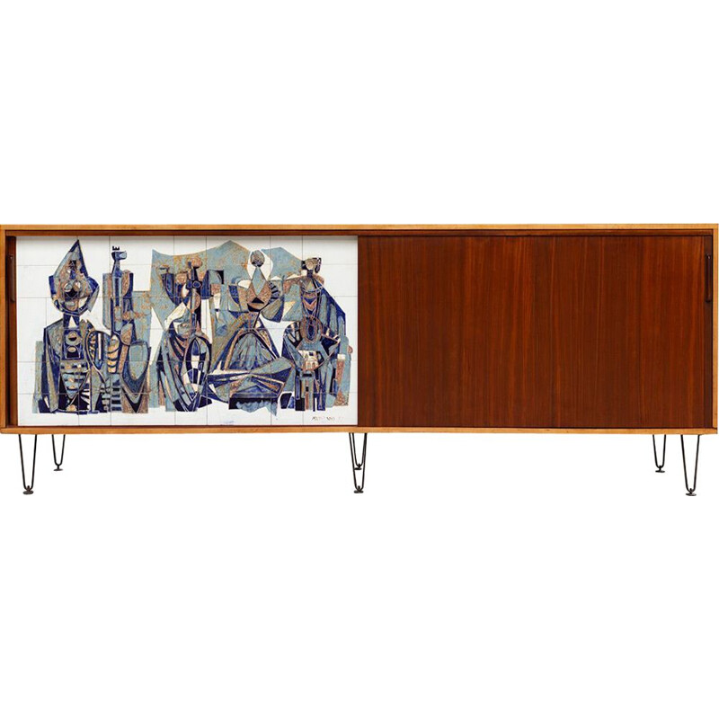 Vintage Sideboard 308 by Alfred Hendrickx with Willy Meysmans Ceramic, 1950s