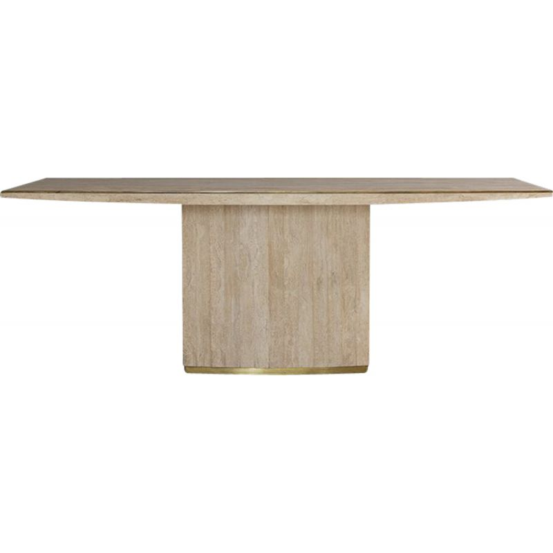 Vintage Travertine and Brass Dining Table by Jean Charles, 1970s