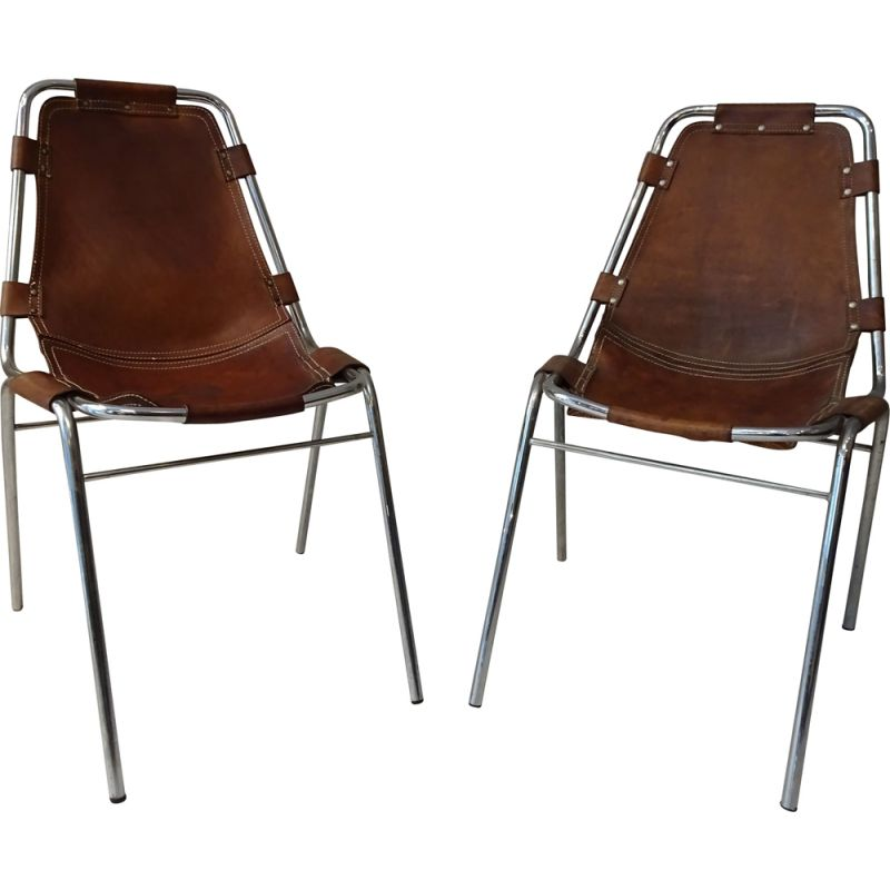 "Pair of vintage chairs ""Les Arcs"" for Charlotte Perriand 1960"