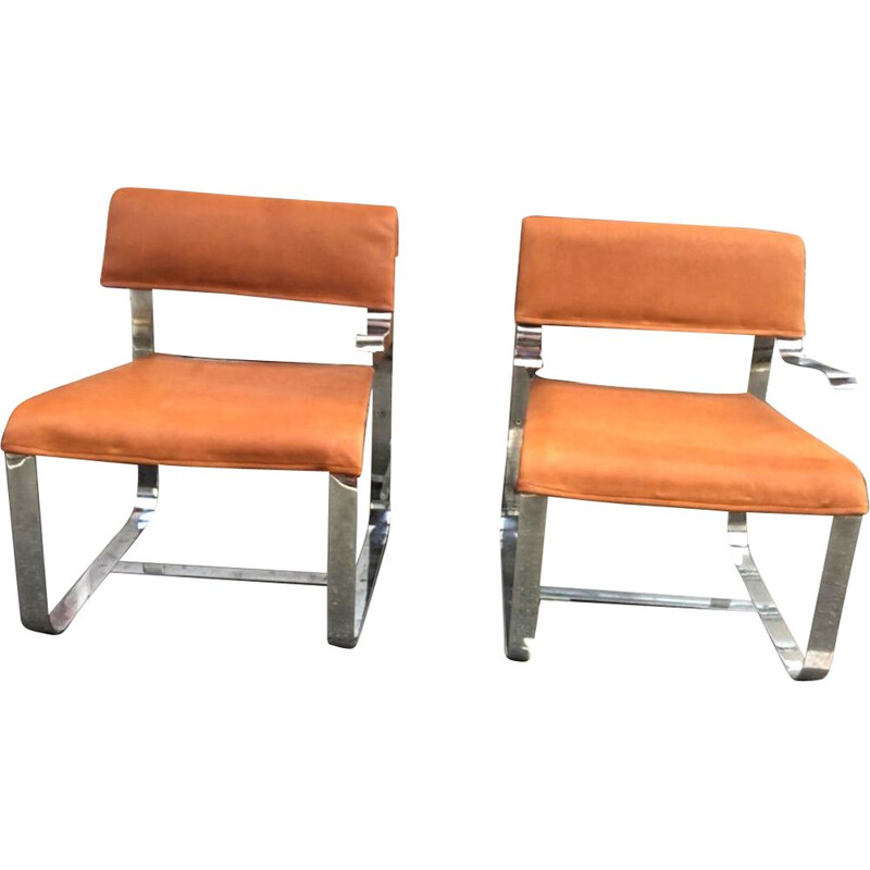 Vintage pair of cognac armchairs in leather and chrome, Italy 1970