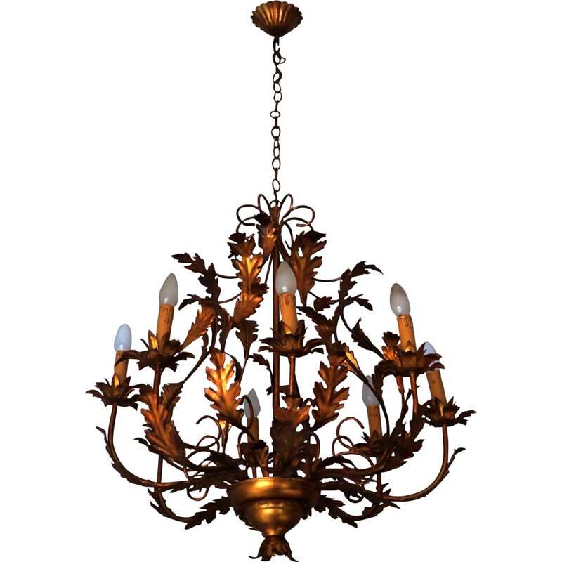 Vintage Gilt tole chandelier with 8 lights, 1960s
