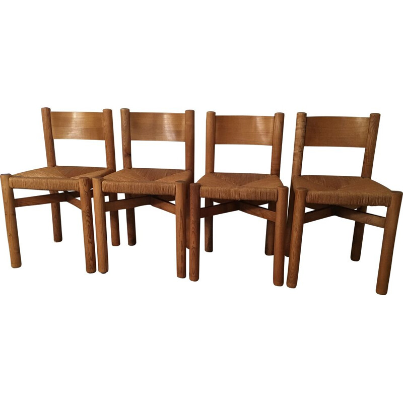 Set of 4 vintage chairs by Charlotte Perriand, 1960s