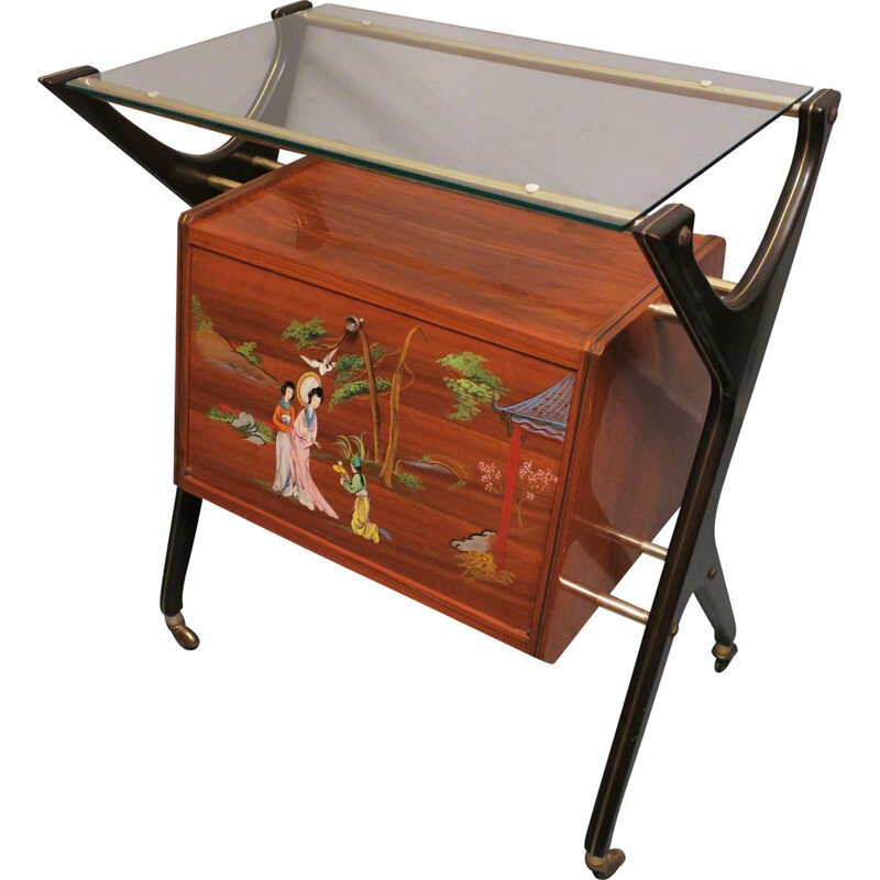 Vintage bar cart with cabinet, Italy, 1950s