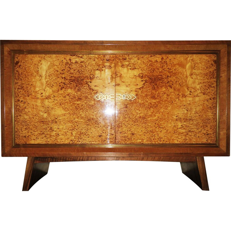 Vintage walnut and brass cabinet, Art deco, 1930s
