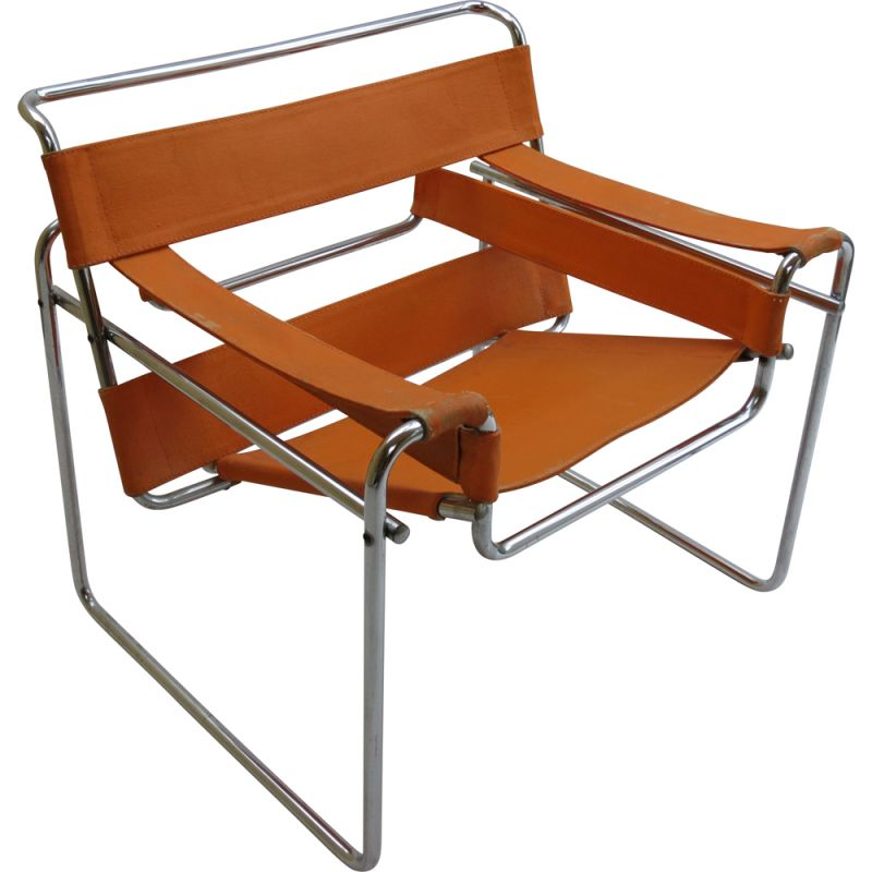 Vintage orange B3 Wassily chair by Marcel Breuer For Gavina, Italy, 1960s