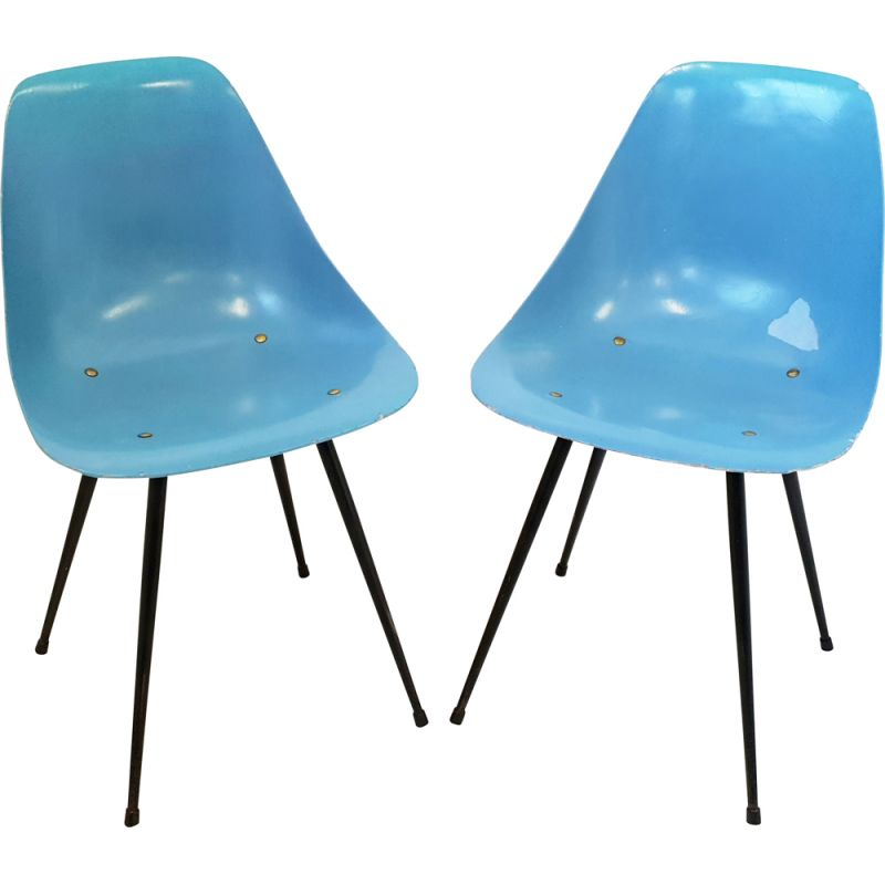 Set of 2 vintage chairs by René-Jean Caillette, 1950s