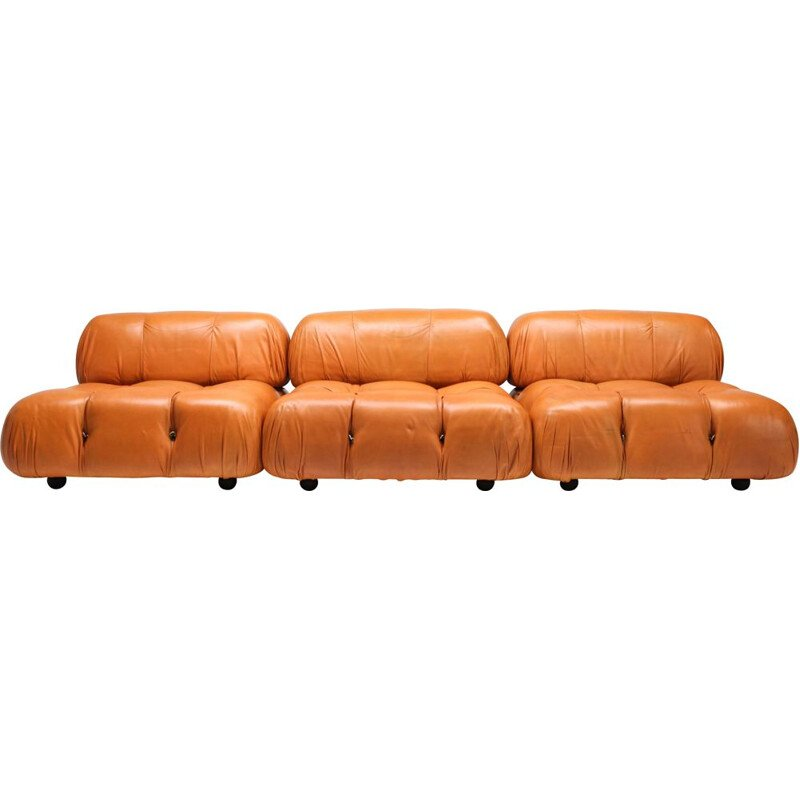 Vintage Camaleonda Sofa in original cognac leather, C&B Italia 1970s