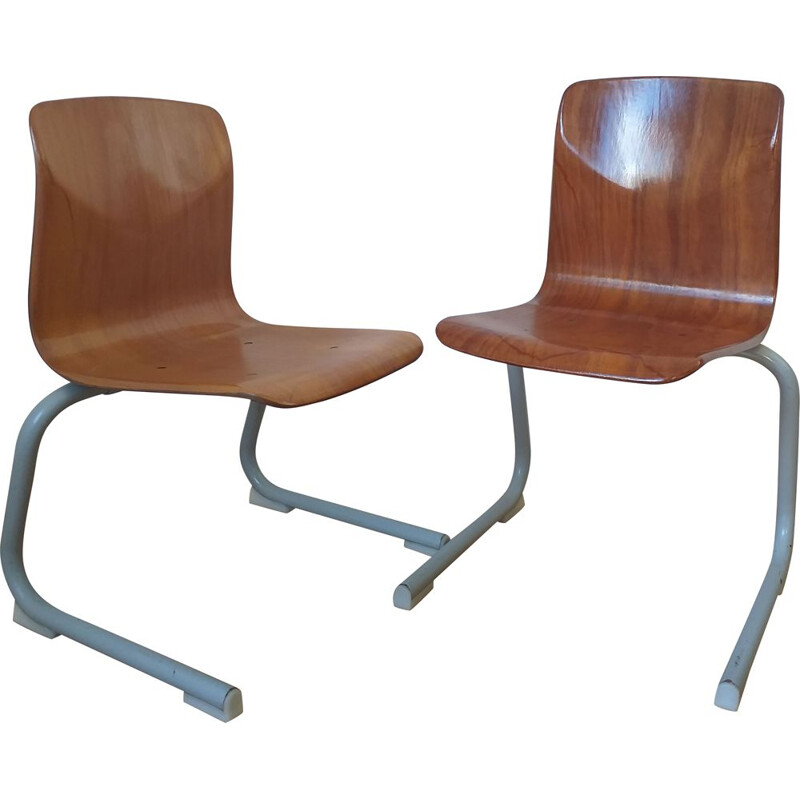 Pair of vintage children school chairs Pagholz, Elmar Flötotto, 1980s