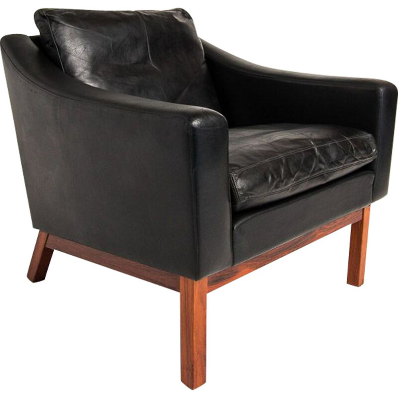Vintage armchair in leather & rosewood by Poul Jessen, 1960