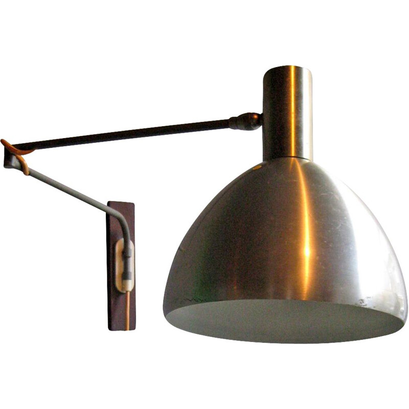 Vintage wall lamp in wood and aluminium,1950