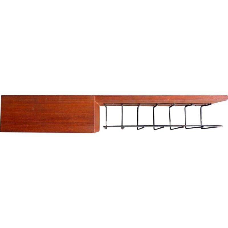 Vintage wall shelf in teak and black metal with drawer, Holland, 1950