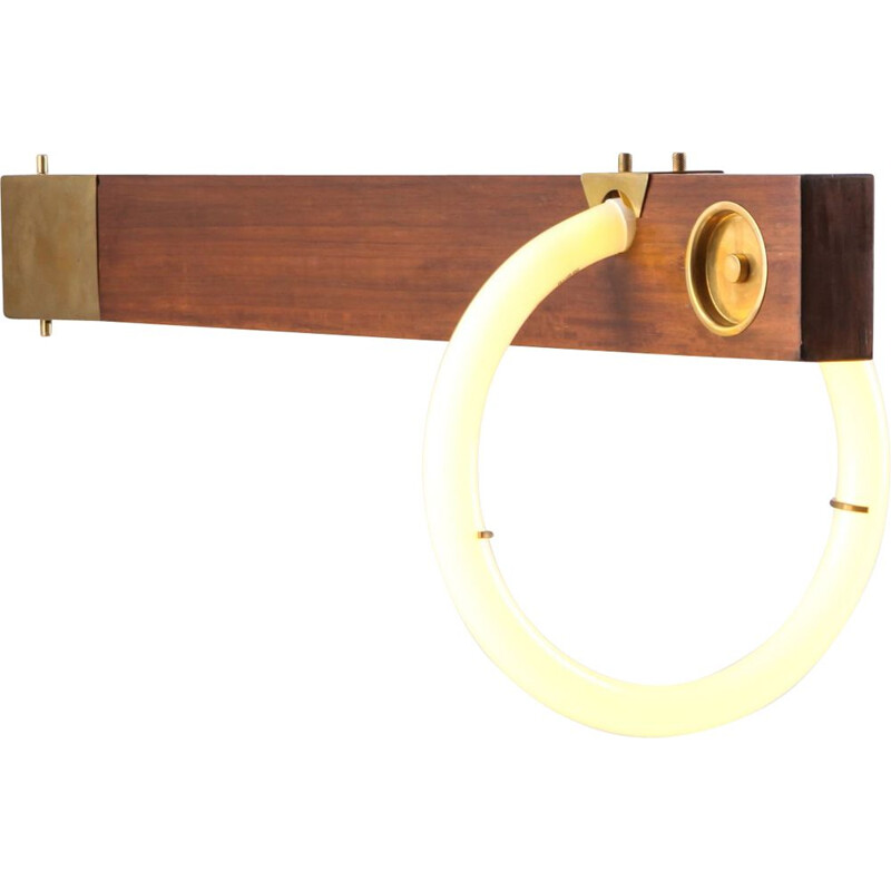 Vintage wall light in walnut and brass by Angelo Brotto, 1970s
