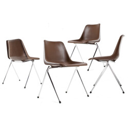 Hille set of 4 chairs in metal and polyproplene, Robin DAY - 1960s