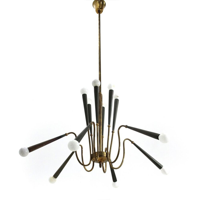 Vintage 12 lights brass chandelier, Italy, 1950s