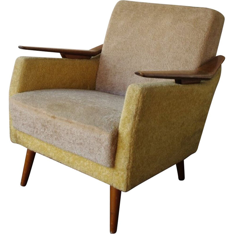 Vintage wooden and fabric armchair, 1960s