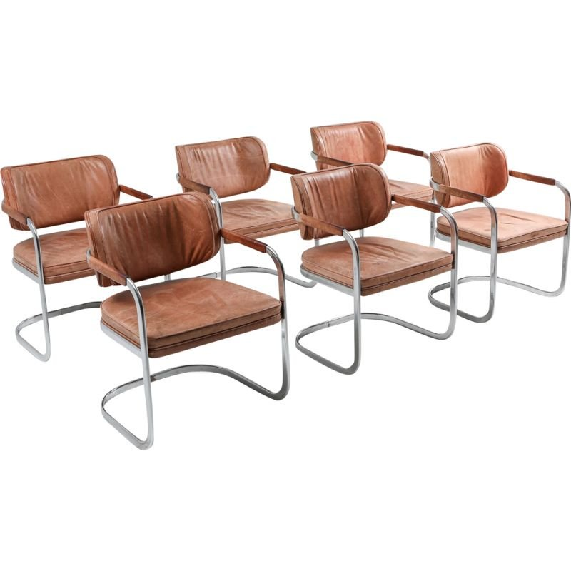 Vintage set of 6 cognac leather armchairs by Knoll, 1970s