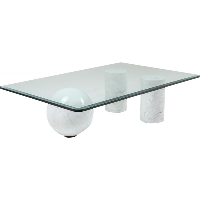 Vintage Italian white marble coffee table by Massimo Vignelli, 1970s