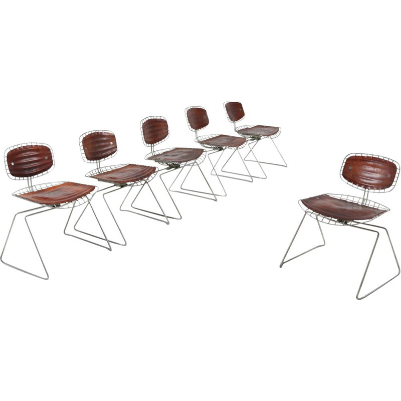"Set of 6 vintage ""Treilli"" chairs or Beaubourg, Michel Cadestin, 1976"