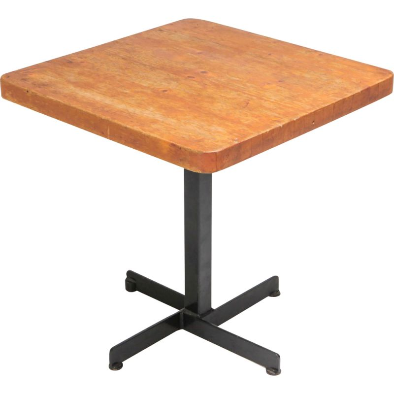 """Vintage square table """"Les Arcs"""" by Charlotte Perriand, 1960s"""