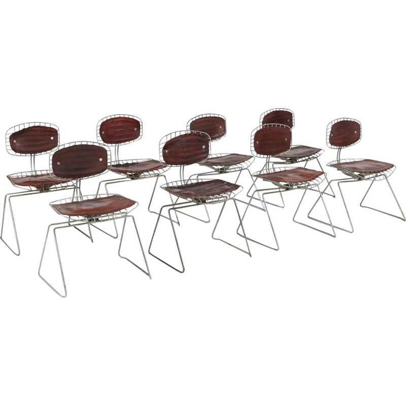 Set of 8 vintage Beaubourg wire chairs by Michel Cadestin for Centre Pompidou, 1977