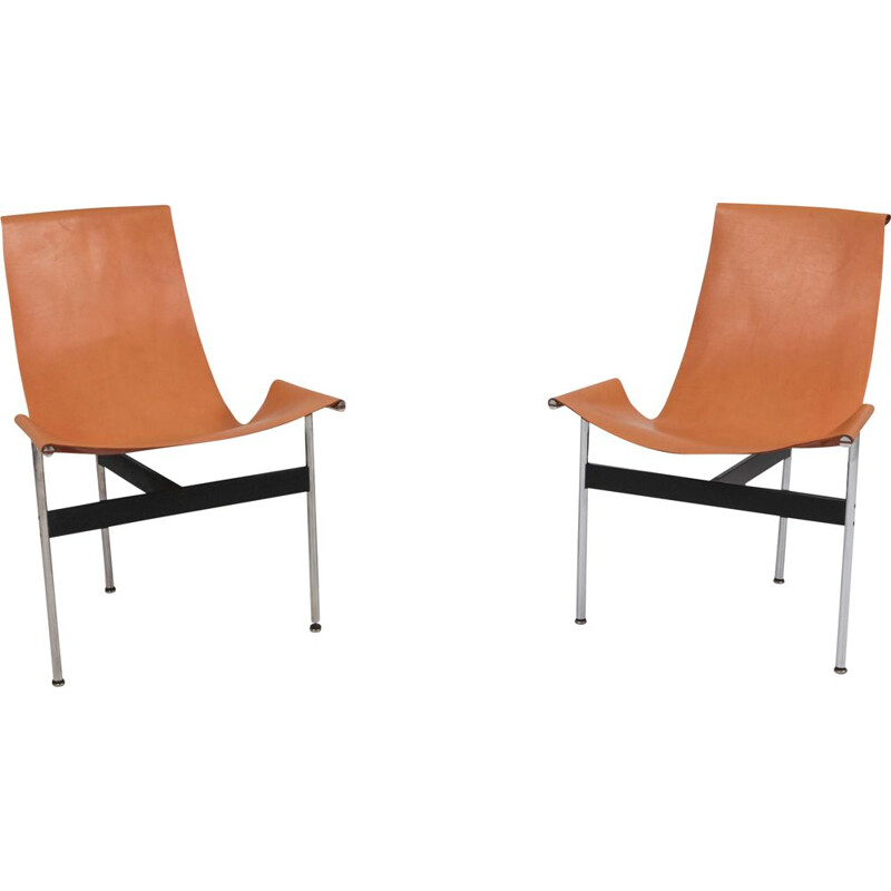 Set of 2 vintage T-chairs in cognac leather by Katavolos, Kelley and Littell, 1970s