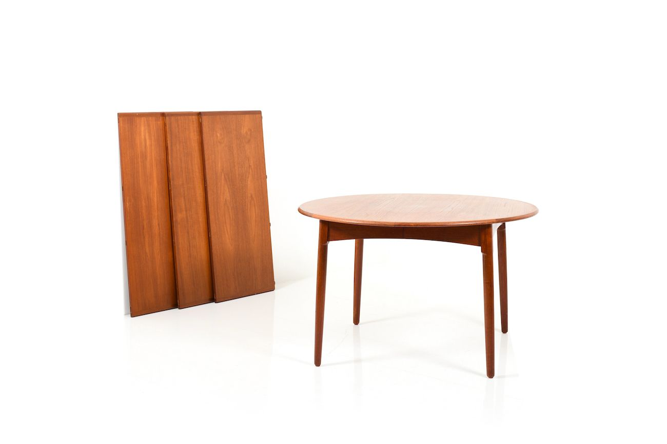Danish Teak Dining Table With Bevel Legs Design Market