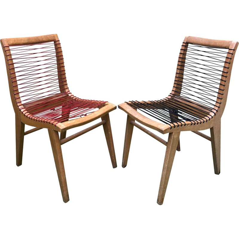 Set of 2 vintage chairs in scoubidou by Louis Sognot, 1950s