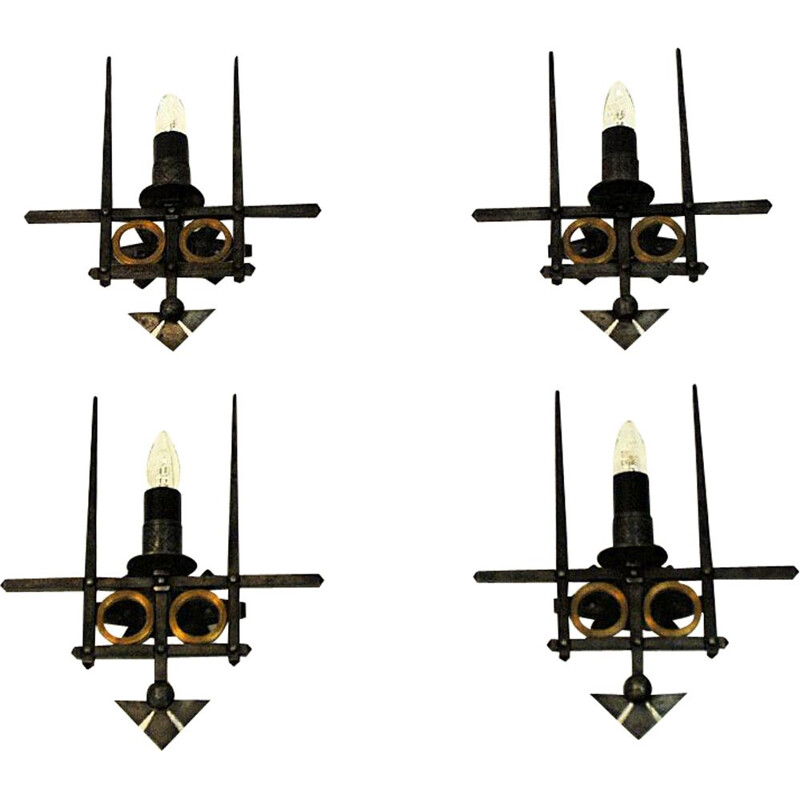 Pair of vintage iron wall lamps by Karl B. Bilgrei, Norway, 1970s