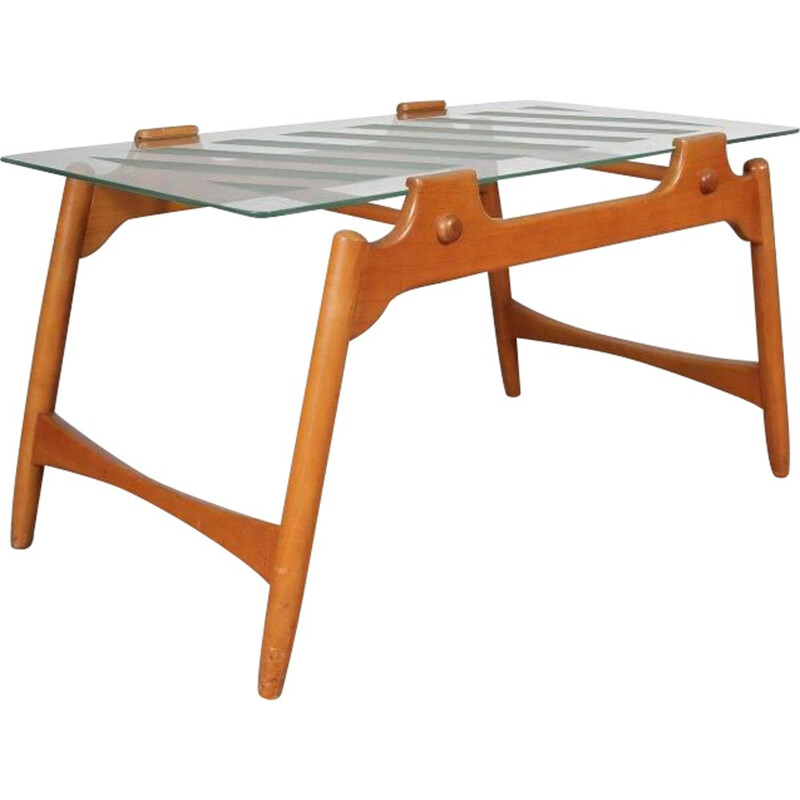 Vintage walnut and glass coffee table, Italy, 1950s