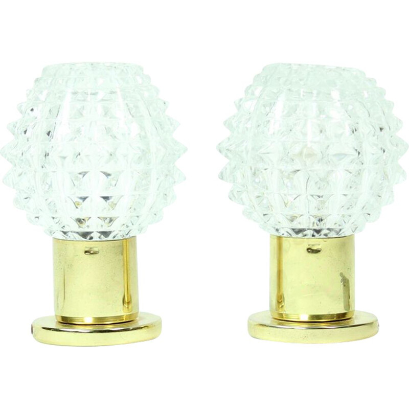 Pair of glass and brass vintage table lamps from Lustry Kamenicky Senov, 1970s