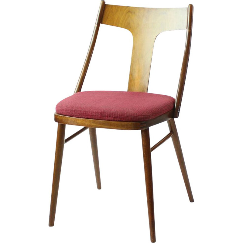 Set of 4 vintage dining chairs in wood and pink, Czechoslovakia 1960s