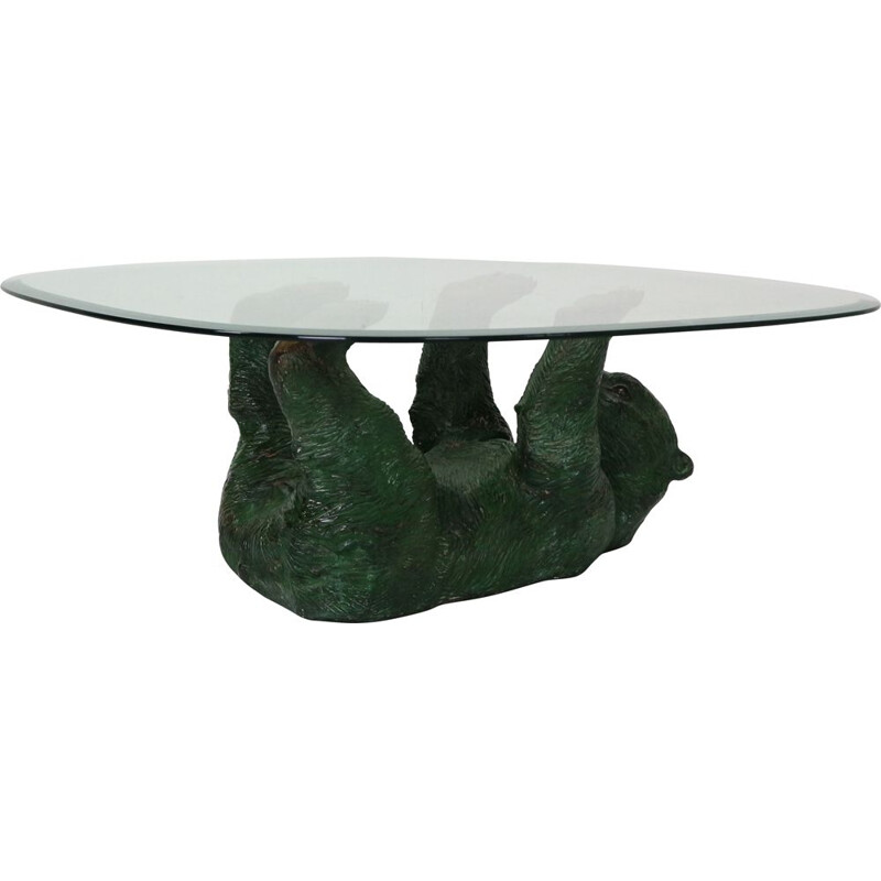 Bronze bear vintage coffee table, Belgium, 1970s