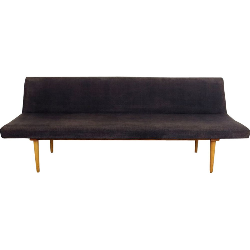 Black vintage 3-seater sofa by Miroslav Navratil, 1960s