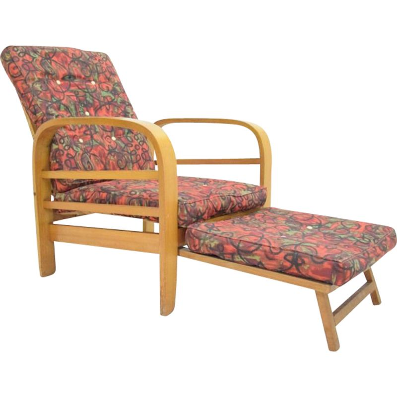 Vintage armchair with curved wood, 1950s