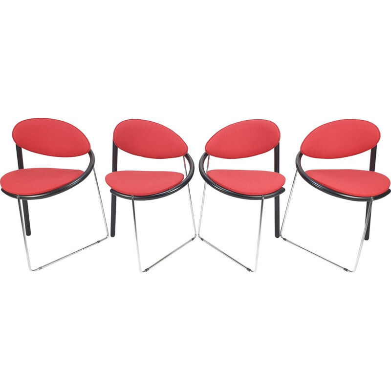 Set of 4 vintage dining chairs by Castelijn, 1980s